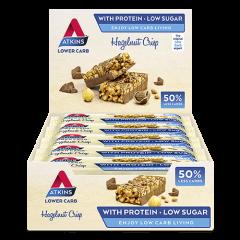 Caloriearm | Atkins | Hazelnut Crisp bar | Doos | Dieetwebshop.nl