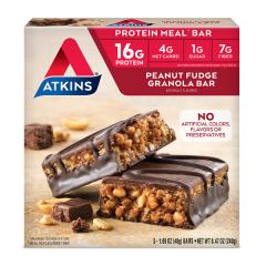 Atkins | Peanut Fudge Granola Bar | Doos | Keto Reep | Dieetwebshop.nl