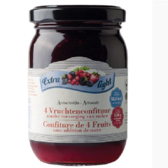 Suikervrije jam | Rabeko | 4 vruchtenjam | extra light | Dieetwebshop.nl